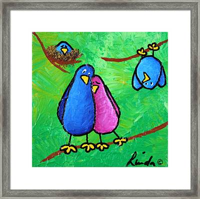 Limb Birds - Outnumbered Framed Print by Linda Eversole