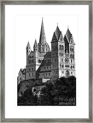 Limburg Cathedral Beautiful Detailed Woodblock Print Framed Print by Christos Georghiou