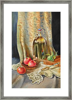 Lime And Apples Still Life Framed Print by Irina Sztukowski
