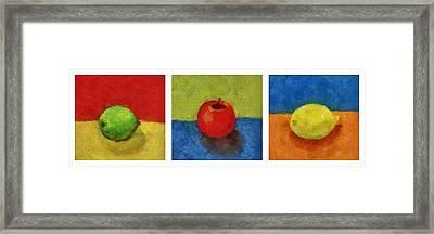 Lime Apple Lemon Framed Print by Michelle Calkins