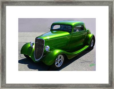 Framed Print featuring the digital art Lime Green Auto  by Mary M Collins