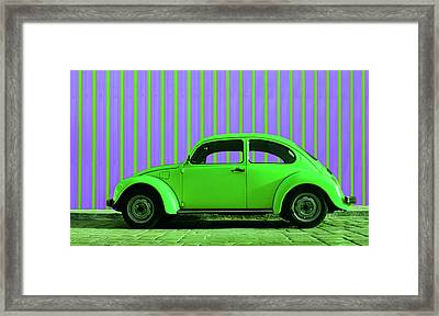 Lime Green Bug Framed Print by Laura Fasulo