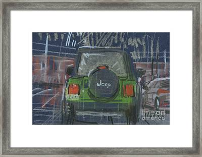 Framed Print featuring the painting Lime Jeep by Donald Maier