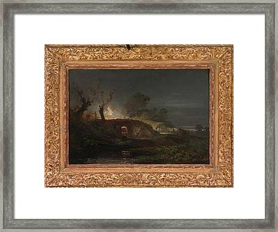 Limekiln At Coalbrookdale Lime Kilns By Night Framed Print by Litz Collection