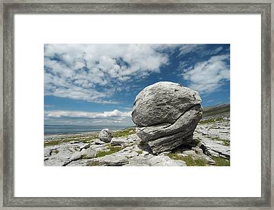Limestone Boulder At The Burren Framed Print by Sinclair Stammers