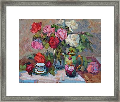 Limoge And Roses Framed Print by Diane McClary
