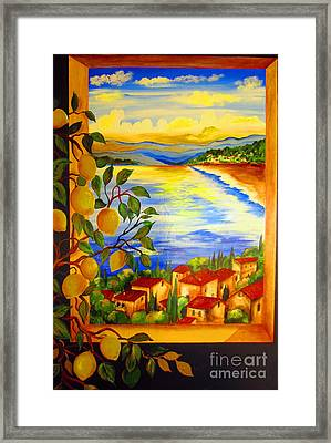 Limoni And The Lake Framed Print