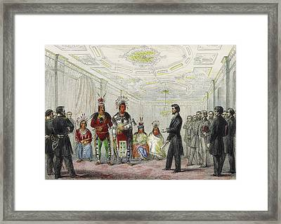 Lincoln And American Indian Chiefs, 1863 Framed Print