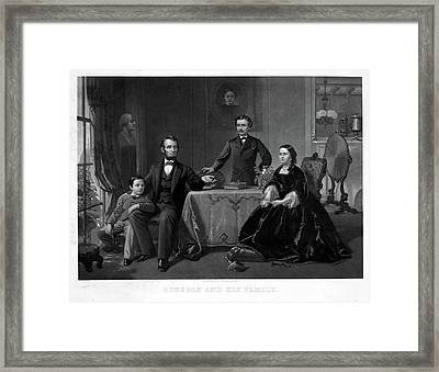 Lincoln And Family Framed Print