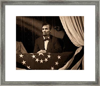 Lincoln At Fords Theater Framed Print