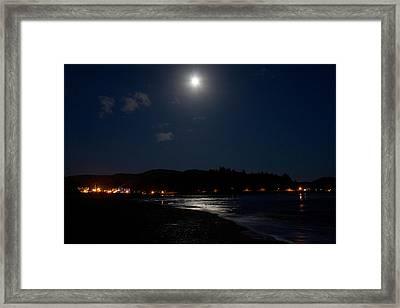 Lincoln City Moonlight Framed Print by John Daly