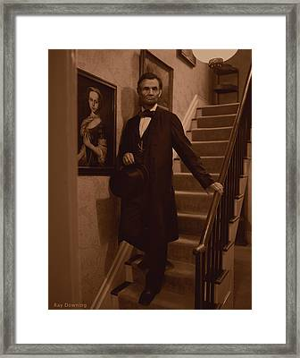 Lincoln Descending Staircase Framed Print by Ray Downing