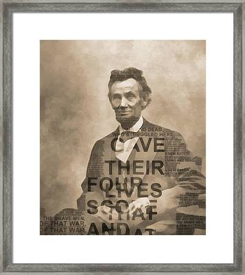 Lincoln Gettysburg Address Typography Framed Print by Dan Sproul
