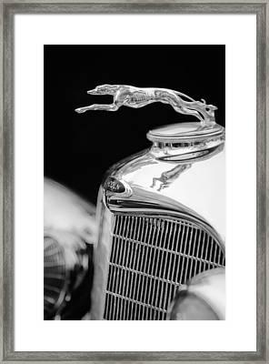 Lincoln Hood Ornament - Grille Emblem -1187bw Framed Print by Jill Reger