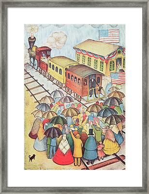 Lincoln Leaving Springfield, Illinois By Train Pastel On Paper Framed Print