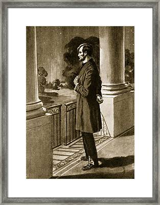 Lincoln Looks Out From The White House Framed Print by American School