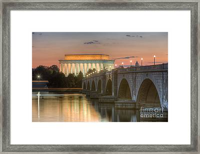Lincoln Memorial And Arlington Memorial Bridge At Dawn I Framed Print