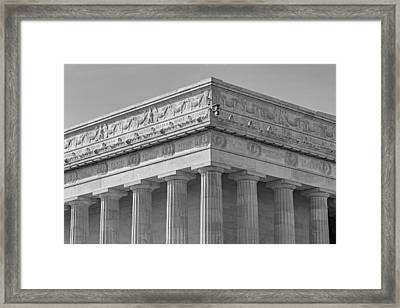 Lincoln Memorial Columns Bw Framed Print by Susan Candelario