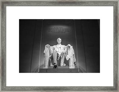 Lincoln Memorial In Black And White Framed Print