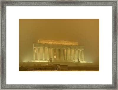 Lincoln Memorial In The Fog Framed Print by Metro DC Photography