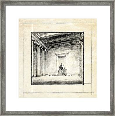 Lincoln Memorial Sketch IIi Framed Print by Gary Bodnar