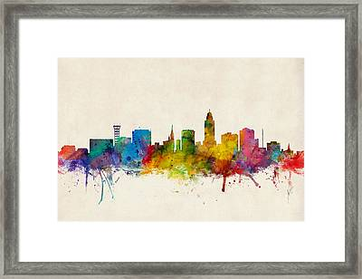 Lincoln Nebraska Skyline Framed Print by Michael Tompsett