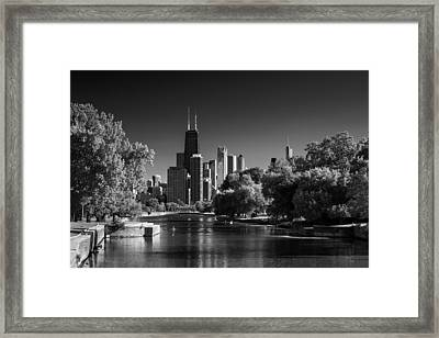 Lincoln Park Lagoon Chicago B W Framed Print
