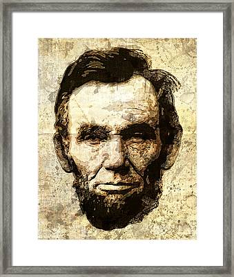 Lincoln Sepia Grunge Framed Print by Daniel Hagerman