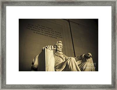 Lincoln Statue In The Lincoln Memorial Framed Print by Diane Diederich