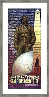 Framed Print featuring the painting Lincoln Tomb And War Memorials Street Banners Korean War Pilot by Jane Bucci