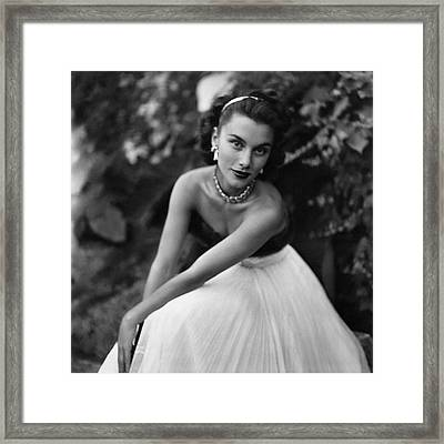 Linda Christian Wearing A Ball Gown Framed Print by Clifford Coffin