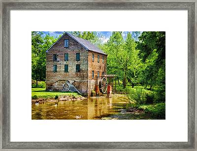 Lindale Old Brick Mill Framed Print by Priscilla Burgers