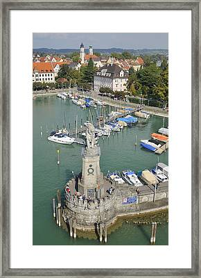 Lindau Harbor With Boats And Town View From Above Framed Print