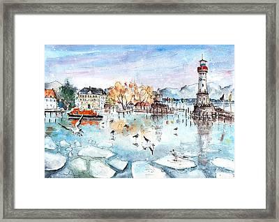 Lindau Harbour In Winter Framed Print