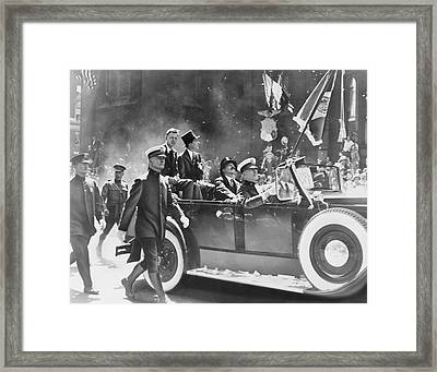 Lindbergh's Ticker-tape Parade, 1927 Framed Print