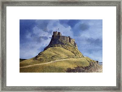 Framed Print featuring the painting Lindisfarne Castle by Tom Wooldridge
