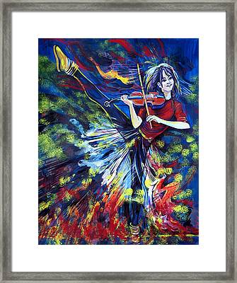 Lindsey Stirling. Dancing Violinist Framed Print by Anna  Duyunova