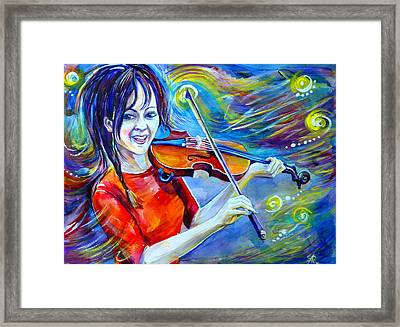 Lindsey Stirling Magic Framed Print by Anna  Duyunova