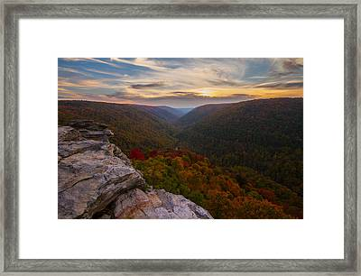 Lindy Point Sunset At Blackwater Falls In West Virginia Framed Print by Jetson Nguyen
