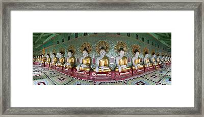 Line Of Buddhas At Umin Thounzeh Temple Framed Print