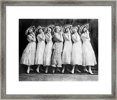 Line Of Seven Theater Women Framed Print by Underwood Archives