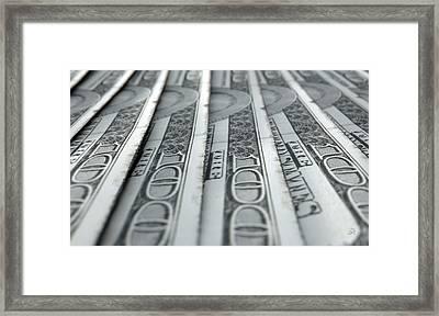 Lined Up Close-up Banknotes Framed Print