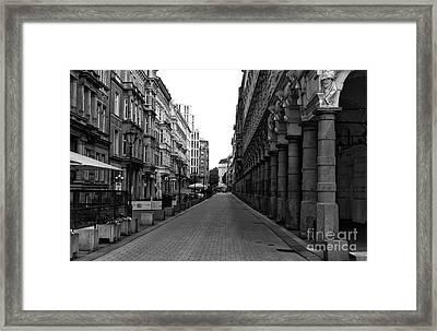 Lined Up In Hamburg Mono Framed Print