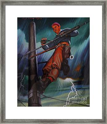 Lineman In Storm Framed Print