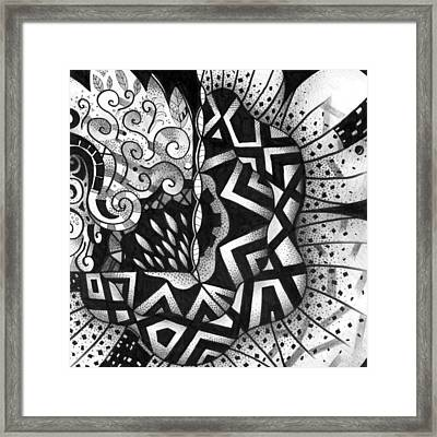 Lines And Dots And Gradual Shadings - Mirror Image Framed Print by Helena Tiainen