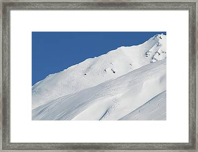 Lines Carved By Skiers And Snowboarders Framed Print by Zachary Sheldon