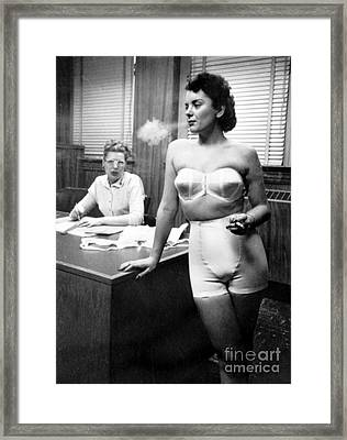 Lingerie Model, 1949 Framed Print by Science Source