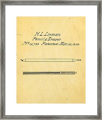 Linman Pencil And Eraser Patent Art 1858 Framed Print by Ian Monk