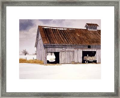 Framed Print featuring the painting Lin's Barn by Tom Wooldridge
