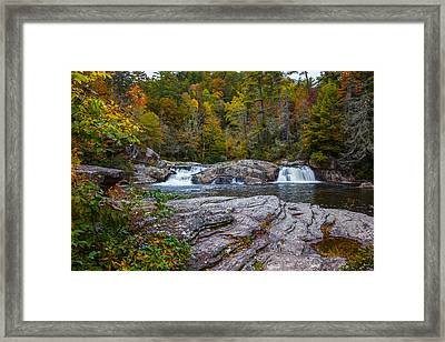 Linville Twin Falls Framed Print